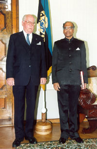 Chikka Rachappa Balachandra, the Ambassador Extraordinary and Plenipotentiary of the Republic of India presenting his credentials to the President of the Republic